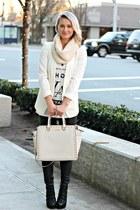 white H&M blazer - black leather Steve Madden shoes