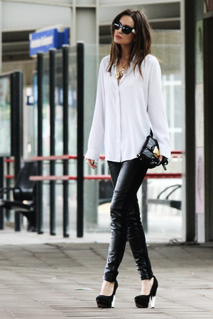 leather 10Feet leggings - leather Michael Kors bag - Bershka sunglasses