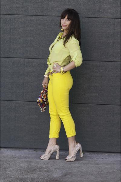 yellow Gap pants - red 80s Vintage purse - ivory sam edelman heels