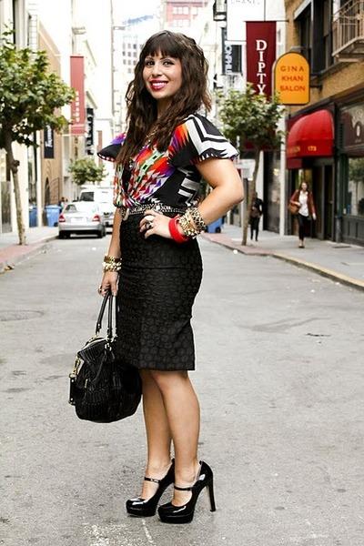 black Vince Camuto shoes - black coach bag - black Anthropologie skirt