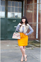 bubble gum vintage purse - beige stuart weitzman shoes - navy JCrew shirt