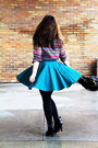 Teal-h-m-skirt-black-charles-david-shoes-black-coach-bag