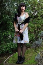 off white Leifsdottir dress - black coach shoes - black Marciano scarf - black H