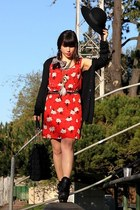 black coach shoes - red Urban Outfitters dress - black vintage hat - black Ameri