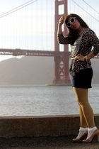 brown JCrew sweater - gold H&M tights - beige stuart weitzman shoes - white Urba