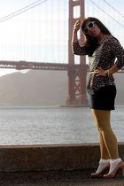 brown JCrew sweater - gold H&M tights - beige stuart weitzman shoes - white Urba