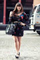 black Mink Pink dress - black coach bag - black Vince Camuto heels