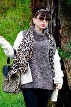 dark brown JCrew sweater - brown Wasteland scarf - tan Forever 21 purse - dark b