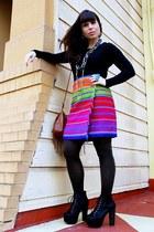 black Jeffrey Campbell shoes - hot pink thrift skirt - black Gap top - brown H&M