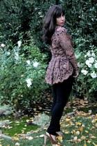 light brown vintage jacket - black AG jeans - brown Michael Kors shoes