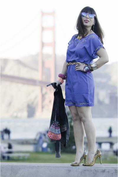 blue luluscom dress - blue Urban Outfitters sunglasses - yellow Zara heels