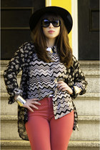 white missoni for target top - black madewell top - hot pink Gap jeans