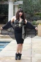 black coach shoes - mustard BCBG top - black Bebe skirt - black American Apparel