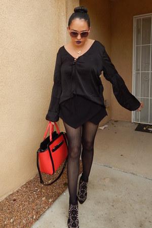 black Forever21 shirt - red Shoedazzle bag