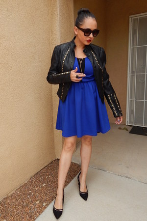 blue Charlotte Russe dress - black JCPenney jacket