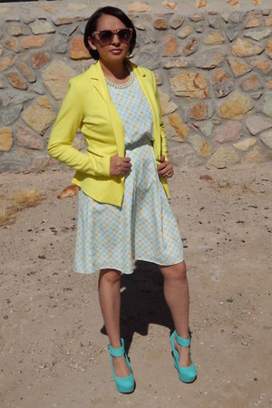 yellow Target blazer - light blue Jason Wu for Target dress