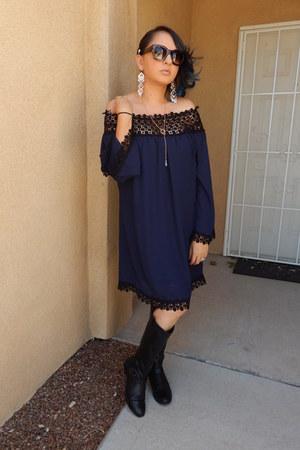 navy Charlotte Russe dress - black Target boots