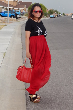 black romwe shirt - ruby red forever21com skirt