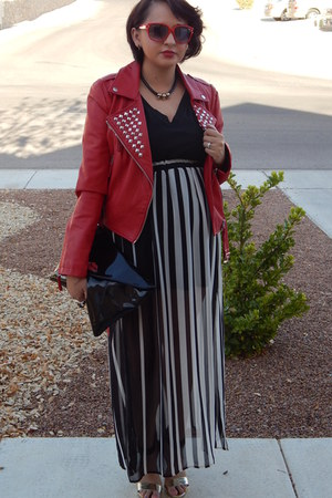 red Forever 21 jacket - black Target t-shirt - white Forever 21 skirt