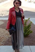 red Forever 21 jacket - black Target t-shirt - white Forever 21 skirt