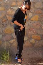 black Ebay shirt - black Charlotte Russe pants - blue GX by Gwen Stefani heels