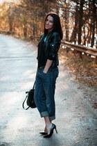 Zara blouse - Diesel jeans - Bershka jacket - H&M bag - Zara heels