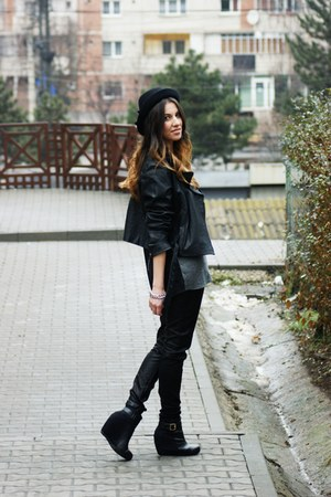 H&M hat - Topshop jacket - Zara leggings - Zara blazer - H&M bracelet