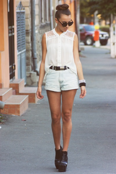 new look shirt - Levis shorts - H&M sunglasses - Jeffrey Campbell heels