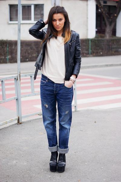 Jeffrey Campbell boots - Diesel jeans - Bershka blouse
