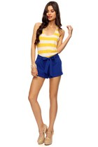 blue Forever 21 shorts - yellow stripes Forever 21 top