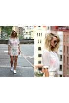 peach H&M skirt - white calvin klein bag - neutral MinkPink sunglasses