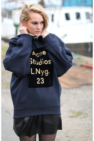 navy acne sweatshirt - black Zara boots - black Zara skirt