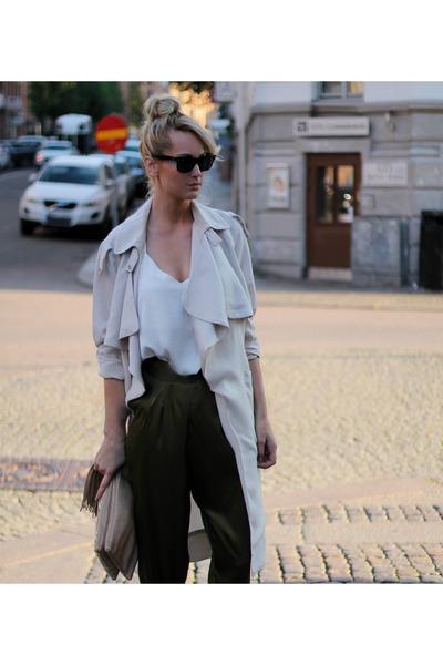 army green H&M pants - beige H&M coat - tan calvin klein heels