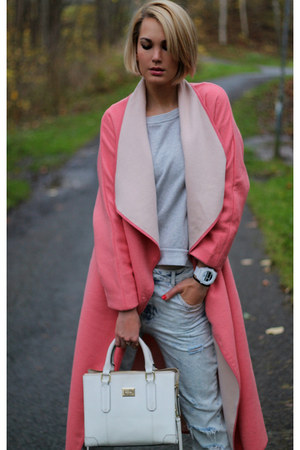 hot pink H&M coat - light blue Zara jeans - white calvin klein bag
