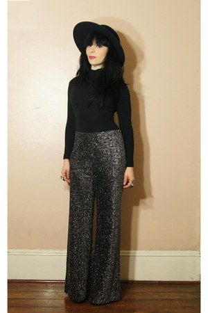 silver pants - black litas Jeffrey Campbell shoes - black shirt