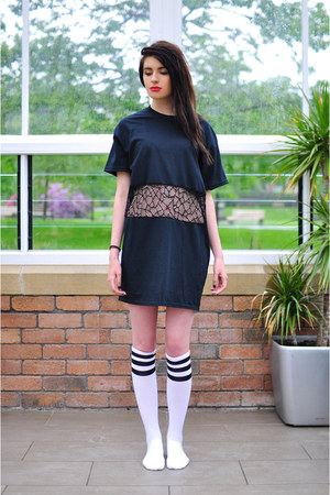 white knee high socks American Apparel socks - black The Left Bank t-shirt