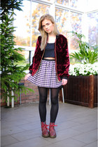 maroon The Left bank by Hardy Punglia jacket - maroon Dr Martens boots