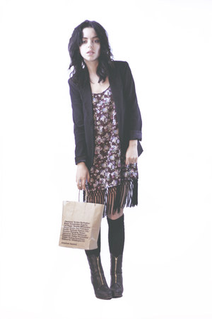 ankle boots ck boots - thrifted dress - black BCBG blazer