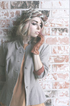 light orange vintage blouse - tan Lillian blazer - Cacharel scarf