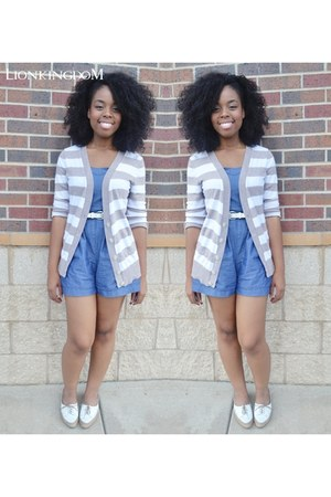 off white striped Old Navy cardigan - off white oxfords flats
