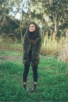 gray sparkley Gummie boots - army green Glassons coat - dark gray Topshop jeans