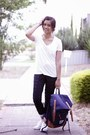 White-glassons-shirt-navy-canvas-unihood-bag