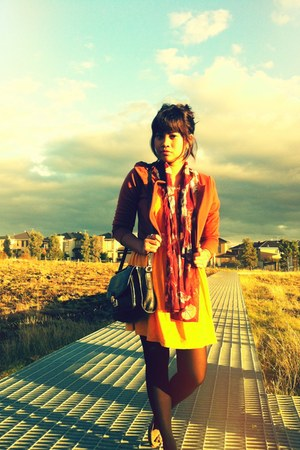 burnt orange Valleygirl jacket - mustard Valleygirl dress