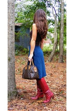 brick red Vintage Dex boots - brown Express sweater