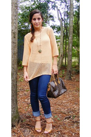 light orange J Jil sweater - navy delias jeans