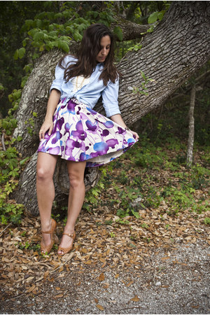 deep purple Forever 21 skirt - periwinkle thrifted top - tawny peep toe wedge So