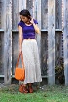 tan crochet vintage skirt - carrot orange vintage purse