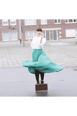 turquoise blue Mango skirt - dark brown vintage bag - white romwe blouse