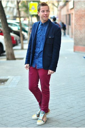 red no limit Christian Louboutin sneakers - navy military asos blazer