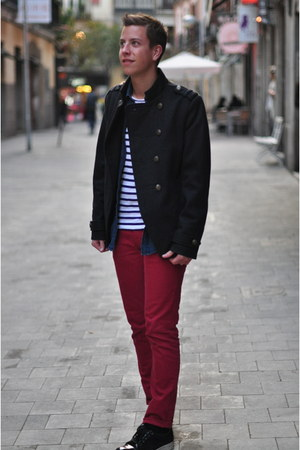 navy military asos jacket - blue denim The Kooples shirt - red Zara pants